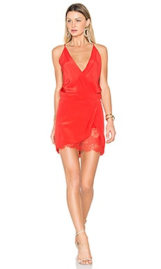 x REVOLVE Wrap Mini Dress in Poppy