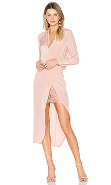 x REVOLVE Long sleeve Wrap Dress in Blush