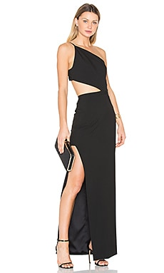 Asymmetrical Bandeau Gown in Black