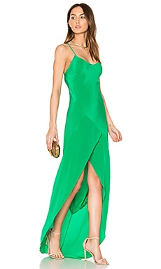 Bias Ruffle Gown in Kelly Green