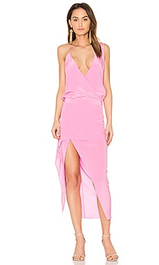 Asymmetrical Midi Dress en Rose Bonbon