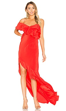 Asymmetrical Ruffle Gown en Poppy