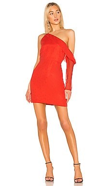 Asymmetrical Sleeve Mini Dress Michelle Mason $242