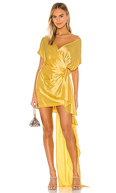 Wide Neck Wrap Mini Dress Michelle Mason $426
