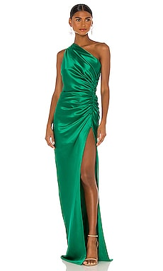 Asymmetrical Gathered Gown Michelle Mason $966 BEST SELLER