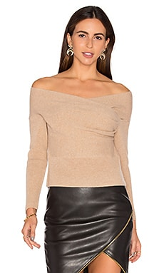 Michelle Mason Cross Wrap Sweater in Nude
