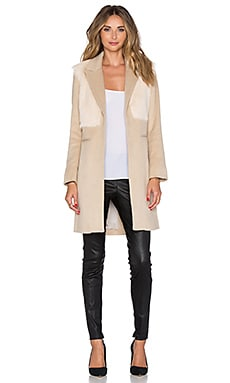 Mason by Michelle Mason Goat Fur Coat in Sand