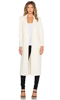 Mason by Michelle Mason Single Breasted Maxi Coat in Ivory