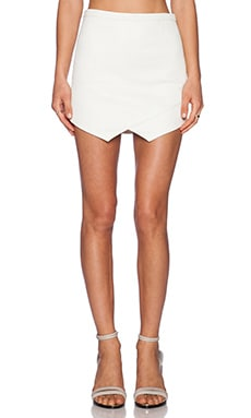 Mason by Mason by Michelle Mason Leather Front Skirt in Ivory