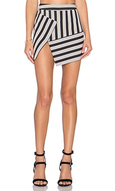 Mason by Michelle Mason Asym Mini Skirt in Black Stripe