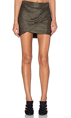 Mason by Michelle Mason Wrap Mini Skirt in Gold