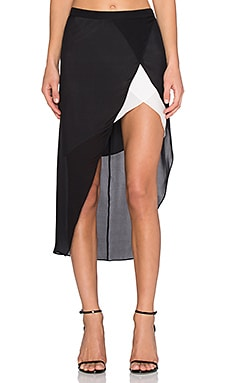 Mason by Michelle Mason Contrast Slip Skirt in Black