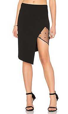 Mesh Panel Asymmetrical Skirt in Black