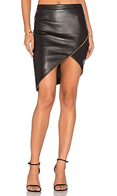 Michelle Mason Asymmetrical Zipper Skirt in Black