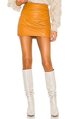 Ruched Leather Mini Skirt Michelle Mason $759 NEW