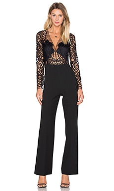 Long Sleeve Lace Jumpsuit in Black