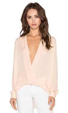 Mason by Michelle Mason x REVOLVE Wrap Blouse in Peach