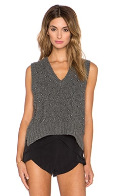 Mason by Michelle Mason Top with Pearl Beading in Charcoal