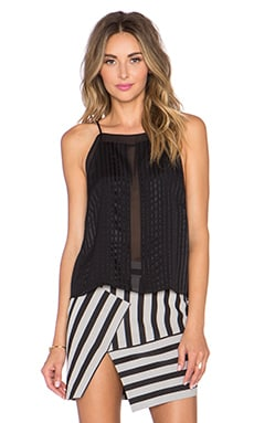 Mason by Michelle Mason Halter Top with Sheer insets in Black