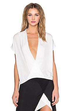 Mason by Michelle Mason Wrap Tee in Ivory