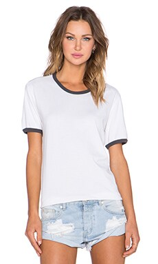MATE the Label Olivia Ringer Tee in White & Vintage Black