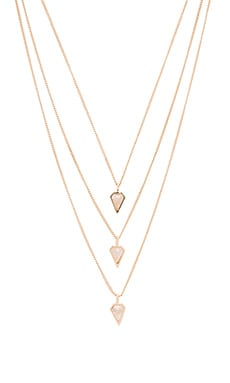 Triple Diamond Necklace en Pierre De Lune & Couleur Or