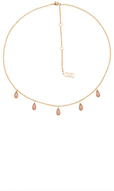 Stone Drop Necklace in Pink Opal & Gold