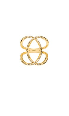 Melanie Auld Pave Double Ring in Gold & Clear