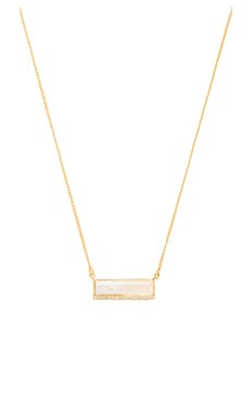 Modern Stone Bar Necklace in Moonstone & Gold