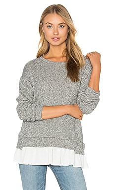 Ruffle Hem Sweatshirt in Heather Grey