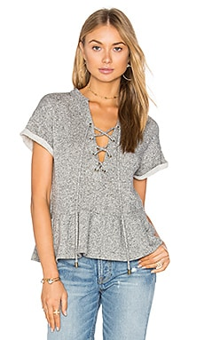 Lace Up Peplum Sweatshirt