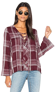 Lace Up Bell Sleeve Top in Maroon