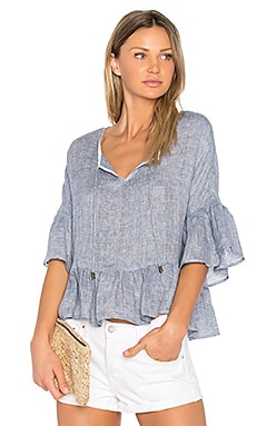 Dani Peasant Blouse in Denim