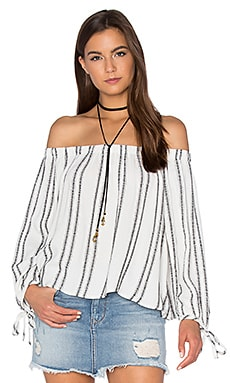 maven west Off Shoulder Top in Black Stripe