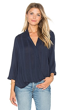 3/4 Surplice Top in Navy