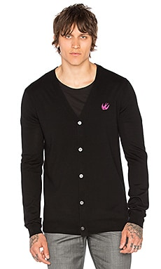 McQ Alexander McQueen Swallow Cardigan in Darkest Black