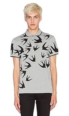 McQ Alexander McQueen McQ Swallows Polo in Mid Grey Melange