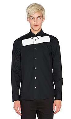 McQ Alexander McQueen Stripe Tux Shirt in Darkest Black