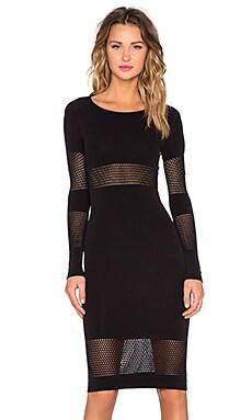 McQ Alexander McQueen Stripes Mesh Dress in Darkest Black