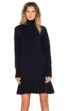 McQ Alexander McQueen Contrast Basic Dress in Navy Melange & Navy