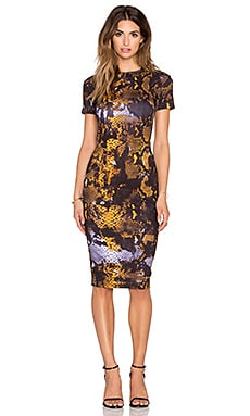 McQ Alexander McQueen Long Bodycon Dress in Amber Snake