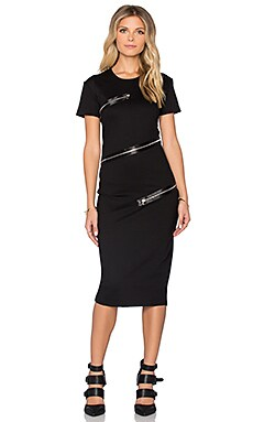 McQ Alexander McQueen All Around Zip Dress in Darkest Black