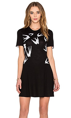 McQ Alexander McQueen Swallow Dress in Darkest Black