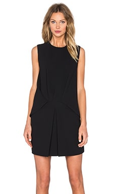 Front Tuck Dress in Black
