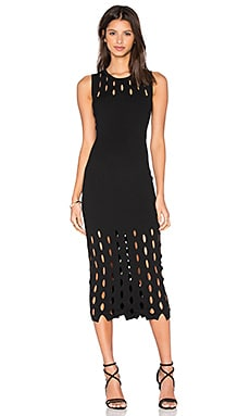 McQ Alexander McQueen Cut Out Stitch Dress in Darkest Black