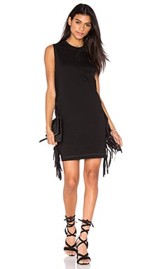 McQ Alexander McQueen Fringe Sleeve Dress in Darkest Black