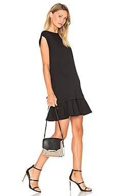 Peplum Sweat Dress in Darkest Black