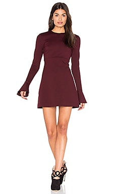 Volant Long Sleeve Dress en Bordeaux