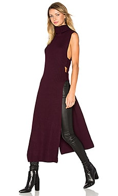 Sleeveless Turtleneck Midi Dress in Burgundy
