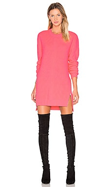 McQ Alexander McQueen Chevron Crew Neck Sweater in Shocking Pink